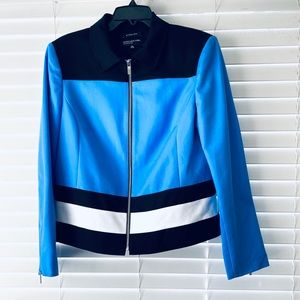 Jones New York Blue and Black Color-block Jacket
